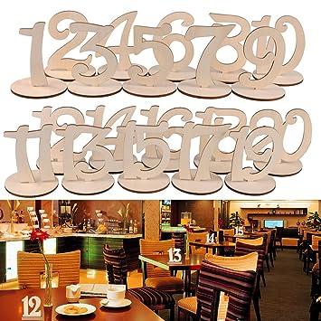 Amazon De Tischnummern Aus Holz Nummer 1 20 Mit Stabilem