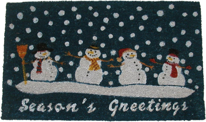 Geo Crafts G157 PVC Backed Coco Doormat, Seasons Greetings