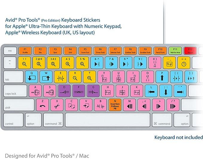 Avid Pro Tools Advanced Teclado Pegatinas Etiquetas - Atajos para teclados Mac