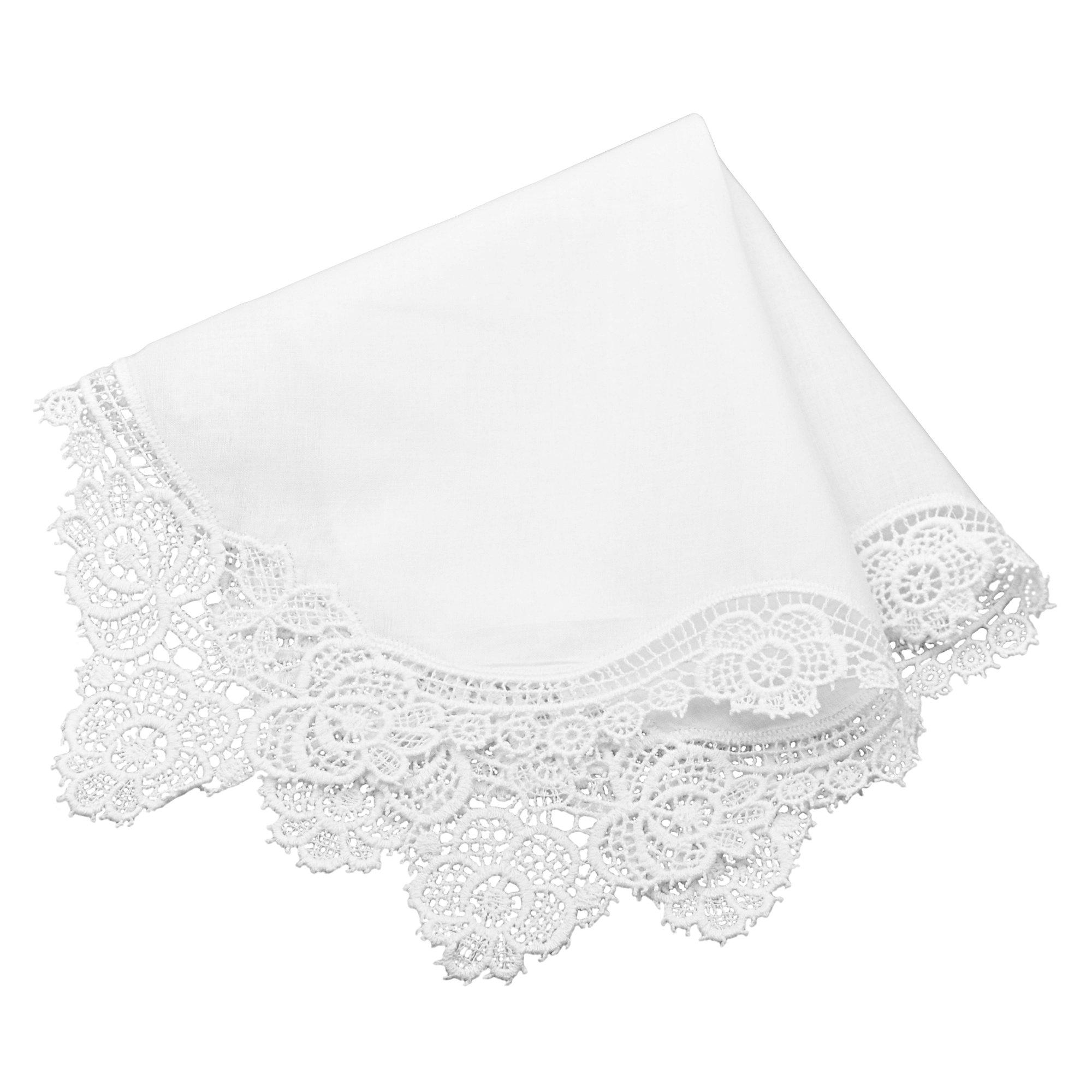 Milesky Bridal Wedding Crochet Lace Handkerchief Premium 60S Cotton CH02