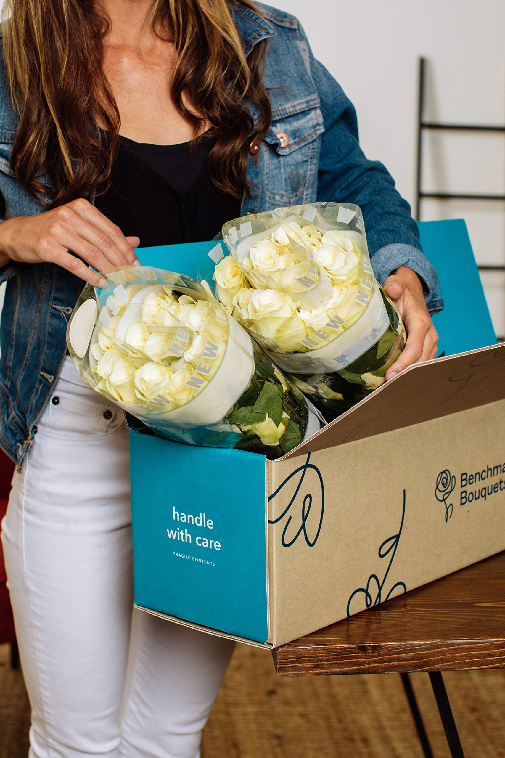 Benchmark Bouquets 50 White Roses Farm Direct (Fresh Cut Flowers) by Benchmark Bouquets (Image #2)