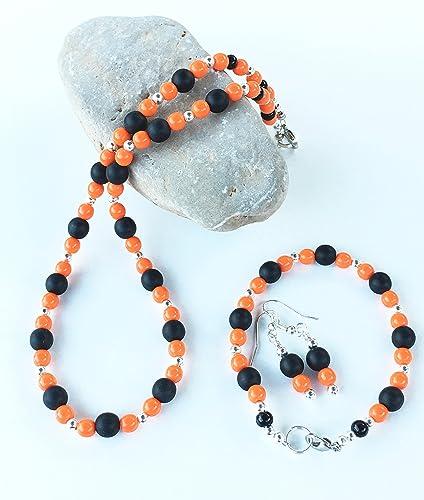 Amazon.com: Halloween Jewelry Set, Orange Black Necklace, Bracelet ...