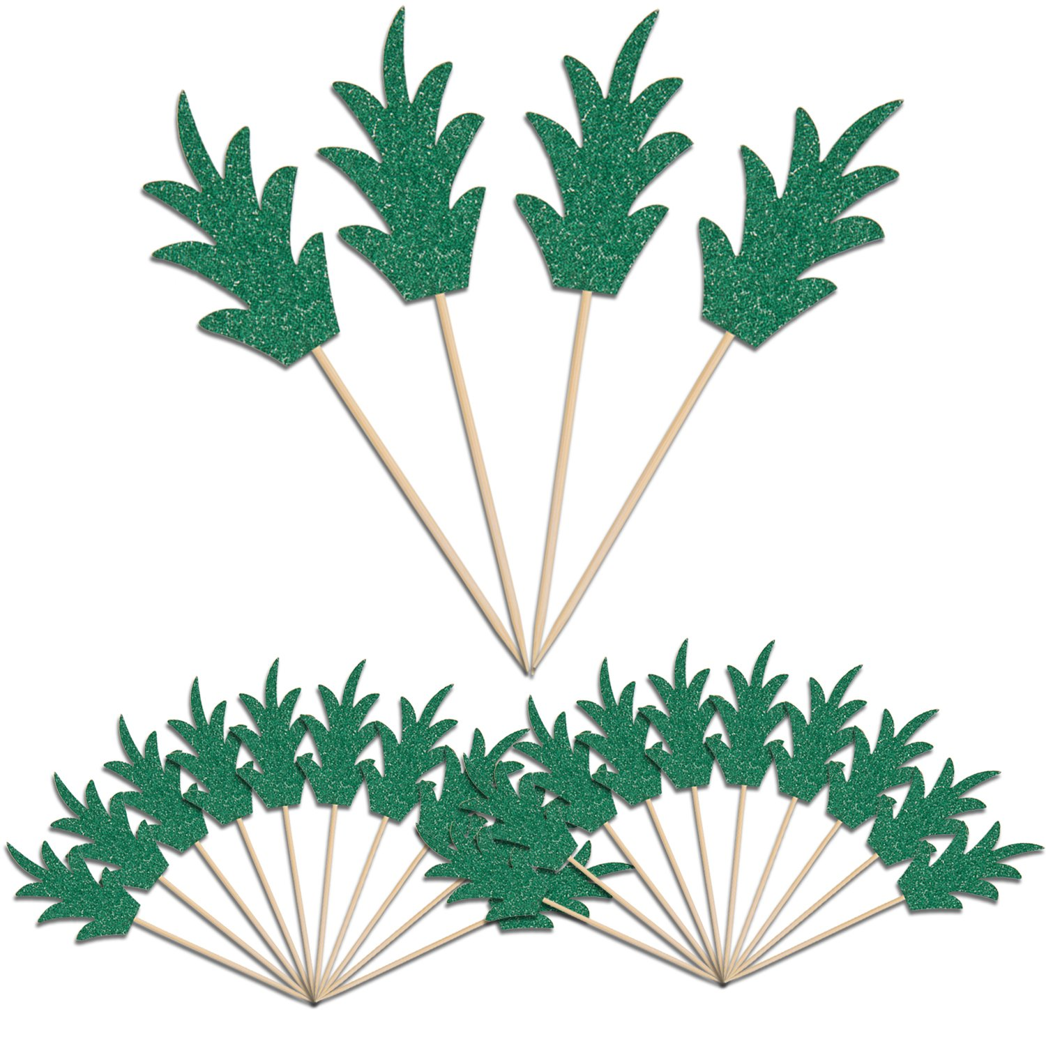Green Pineapple Cupcake Toppers, LUTER 24 Pcs Donut Toppers Glitter Pineapple Picks for Luau Bridal Shower Tropical Summer Party Cake Food Decoration Supplies