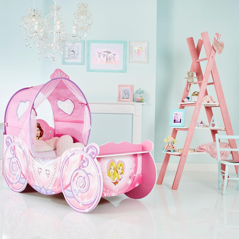 Lit carrosse pour filles Princesses Disney avec ciel de lit lumineux