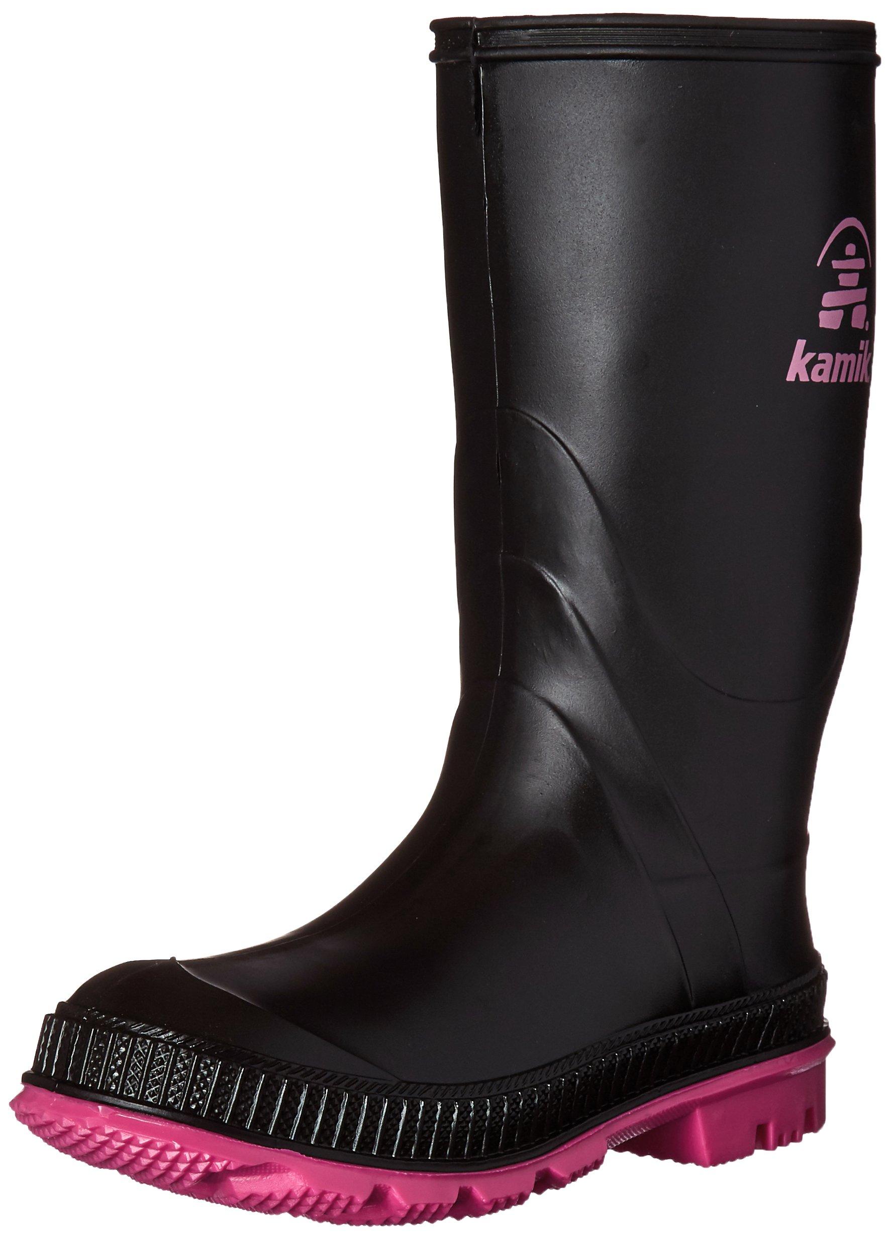 Kamik STOMP/YOUTH/PUR/6149 Rain Boot Black / Magenta,  12 M US Little Kid