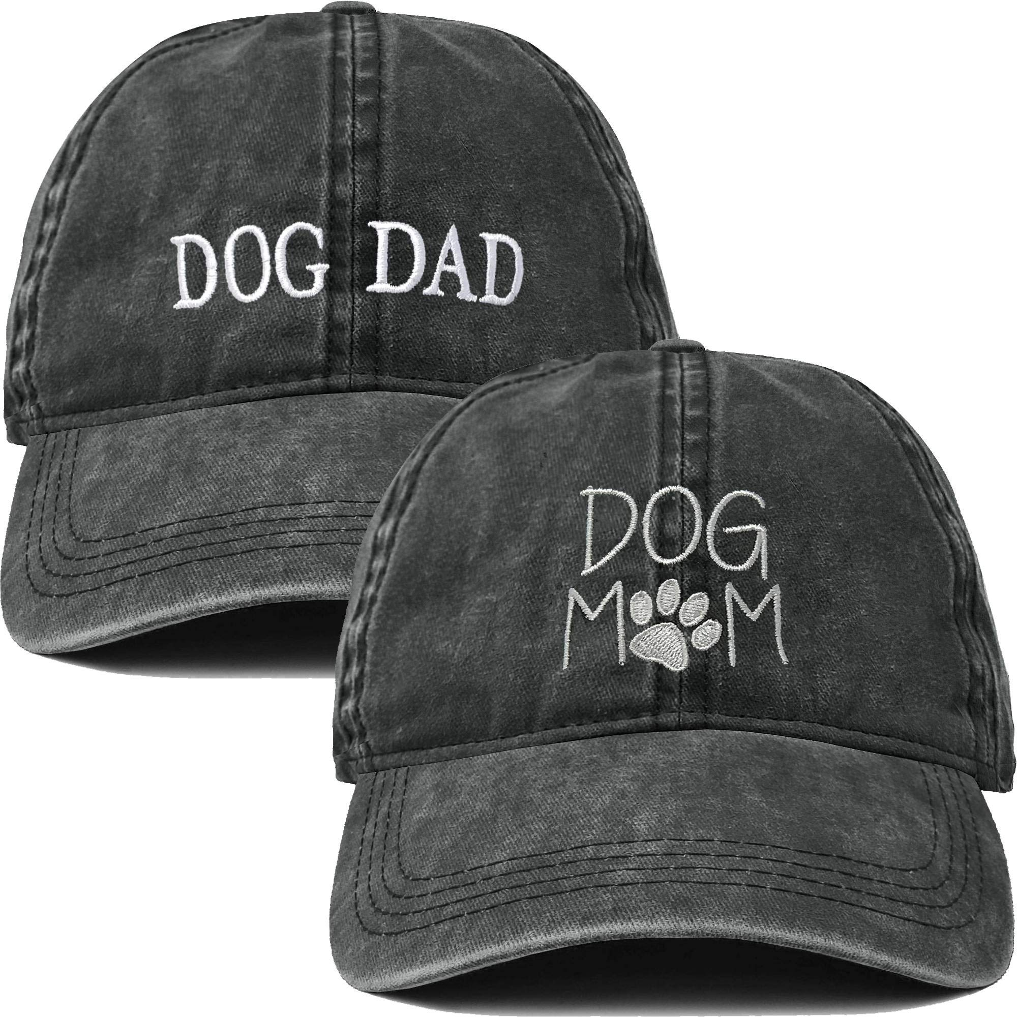 H-214-2-DMD06-W Dog Mom and Dog Dad Hat Bundle - Washed by Funky Junque