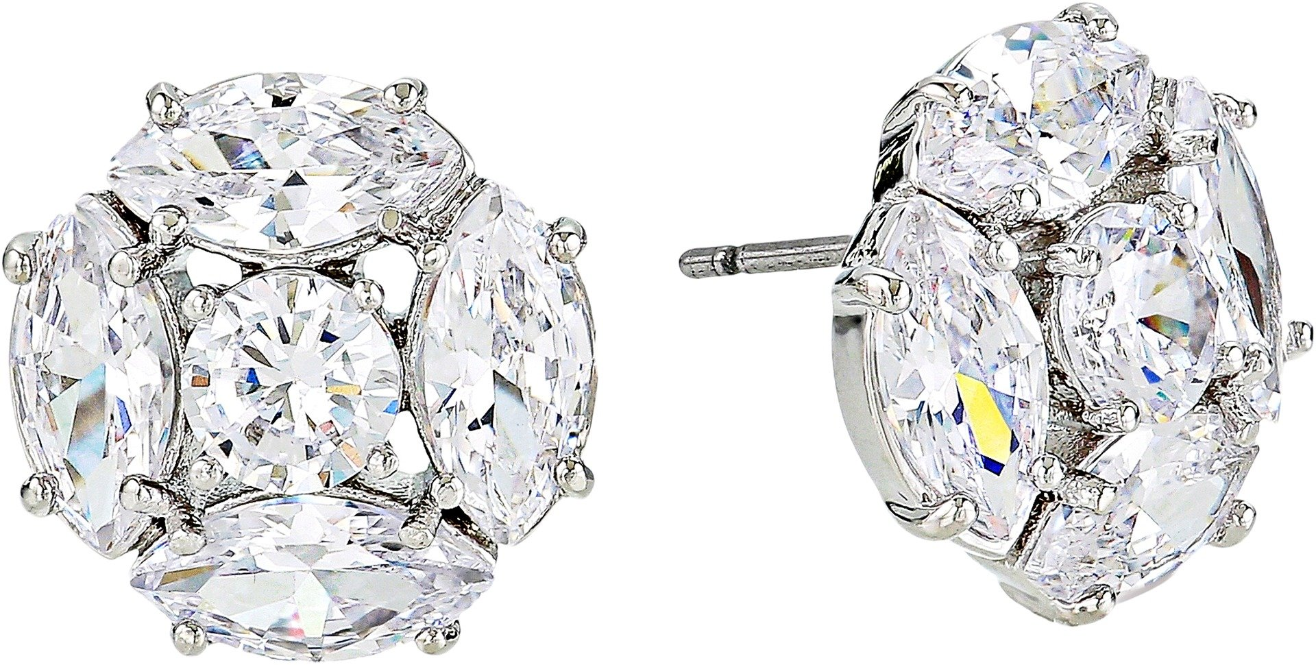 Kate Spade New York Women's Flying Colors Marquise Cluster Studs Earrings Clear/Silver One Size