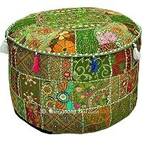 Bohemian Vintage Geborduurde Pouf Ottomaanse Voetbank Cover Indiase Ronde Ottomaanse Kruk Pouf Kussen, Etnisch…