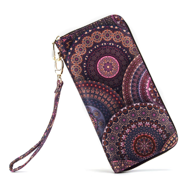 LOVEME Women Circle PupleDouble Zipper Clutch Wallets