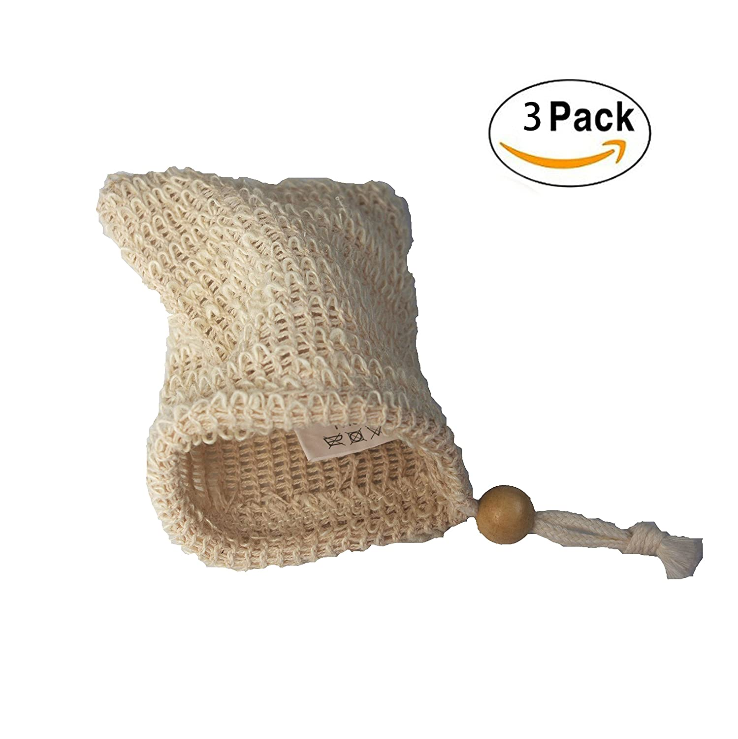 TTYBG Exfoliating Natural Sisal Soap Saver Bag Pouch Holder for Shower Bath Pack of 3
