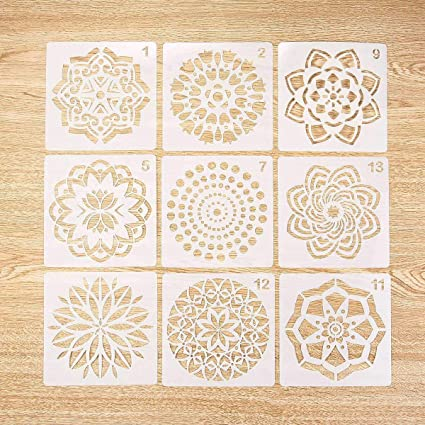 Yeldou 9 Pack Mandala Dotting Stencils Reusable Template