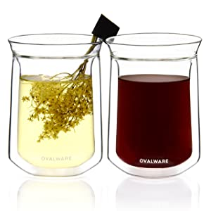 Double Wall Insulated Glass Cup - Borosilicate Glass For Coffee, Tea, Whiskey, Cocktails & All Beverages - Minimalistic & Durable Double-Wall Drinking Mug - 350ml / 12oz (Set of 2)