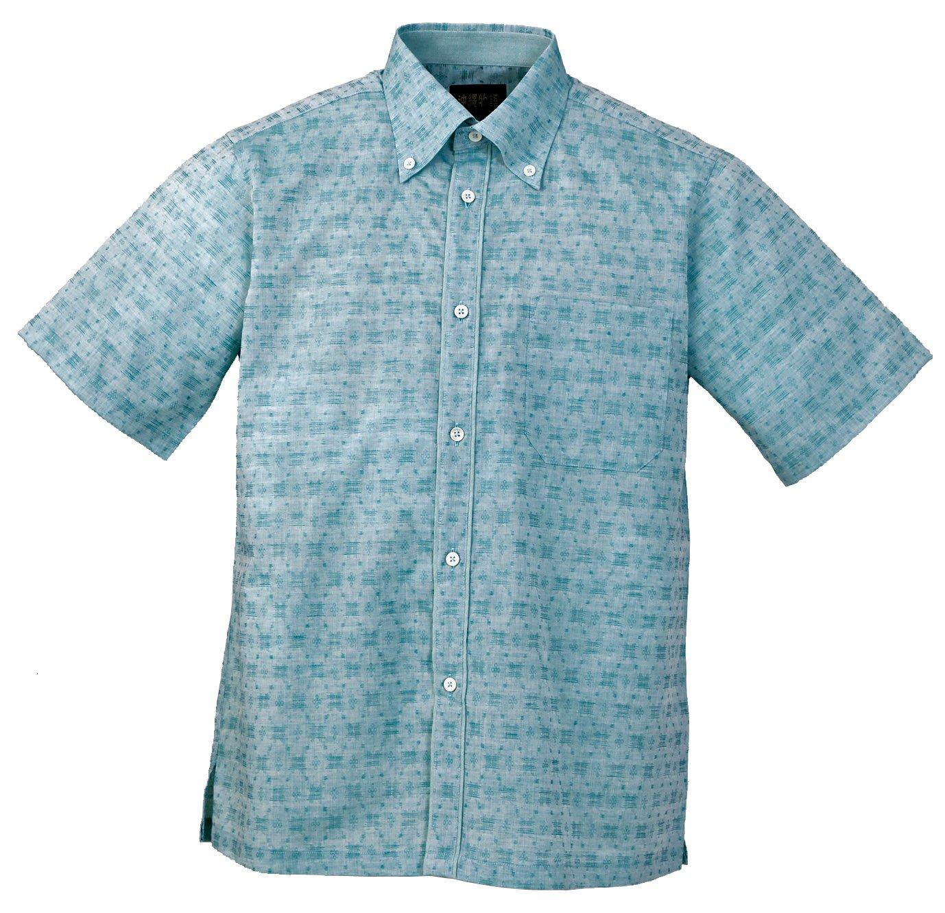 [沖縄物語] メンズかりゆしウェア(沖縄アロハシャツ)織柄ボタンダウン B07CZZLMDV LL|ブルー ブルー LL