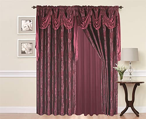 Jacquard Floral Pattern Curtain Set 2 Panel With Attached Fancy Valance and Sheer Backing With 2 Tassel Tie Back – Window Curtains for Bedroom, Living Room or Dinning Room Burgundy