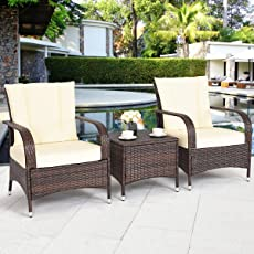 TANGKULA 3 Piece Patio Furniture Set Wicker Rattan Outdoor Patio  Conversation Set With 2 Cushioned Chairs