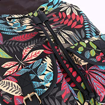 Amazon.com : JD Million shop 2017 New Arrival Foliage Leaf Leaves Printing Canvas Backpack Mochila Escolar School Bags for Girls Bagpack Rugzak : Everything ...