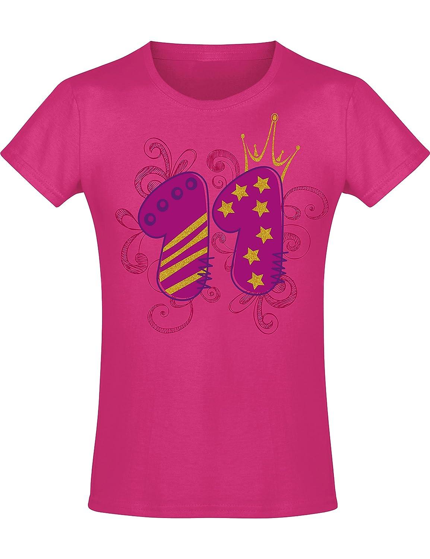 T-Shirt Ni/ños Chica Ni/ña Ni/ñas Girl-s Rosa Pink Fucsia Pijama 11 A/ños con Corona y Brillo Regalo Princesa Princess Camiseta de Cumplea/ños Birthday A/ño 2008