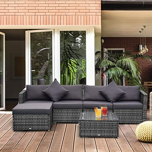 Outsunny 6 Piece Outdoor Patio Wicker Sofa Set Sectional Furniture Chair Conversation Set