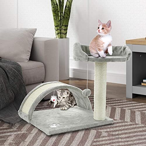 ScratchMe Tree Condo with Scratching Post, Cat Tower Pet Play House with Toy