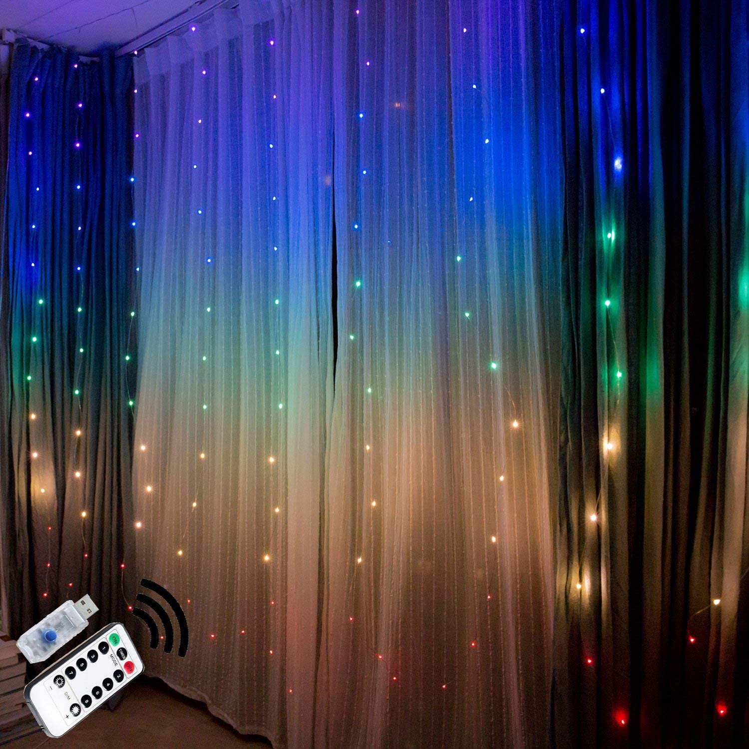 Fairy Lights Led String Lights Twinkle Color Changing Lighted Curtains Colored Indoor Window Light up Decorations for Bedroom Room Wall Decor Wedding Christmas Halloween Party Backdrop Rainbow Unicorn