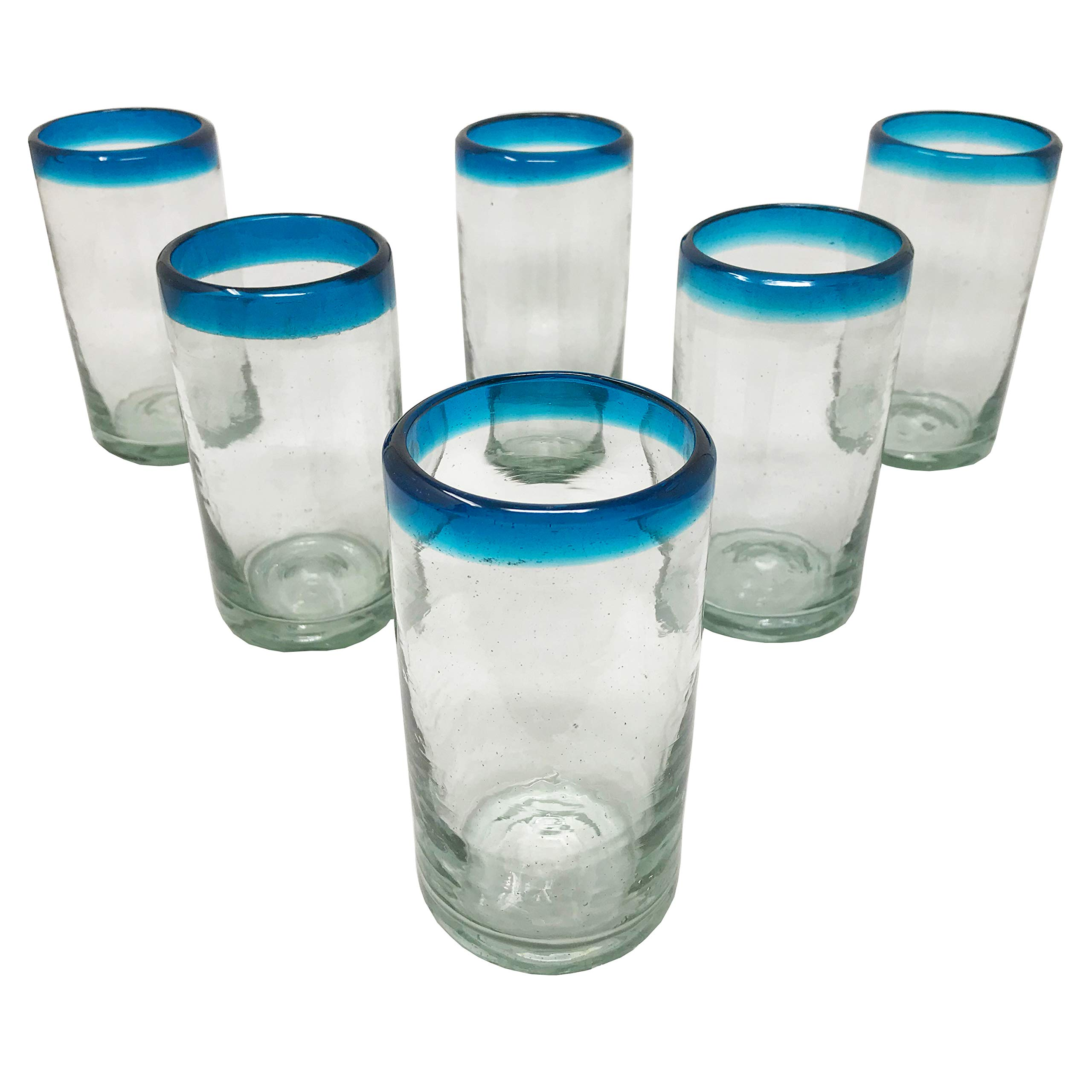 LA MEXICANA Mexican Hand Blown Drinking Glasses Cobalt Clear Sky Blue Rim Recycled Glass, 16 oz. (set of 6), Sky Blue Style