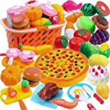 DigHeath 45pcs Pretend Play Food Set,Kitchen Cutting Toys,BPA Free Plastic Fruits & Vegetables for Kids with Realistic…