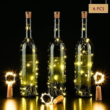 LED Lámpara de Botella, Alambre de Cobre de Plata con 15 bombillas Accionado por Batería para DIY Decoración Botella Guirnalda de Luz Cadena de Luz ...