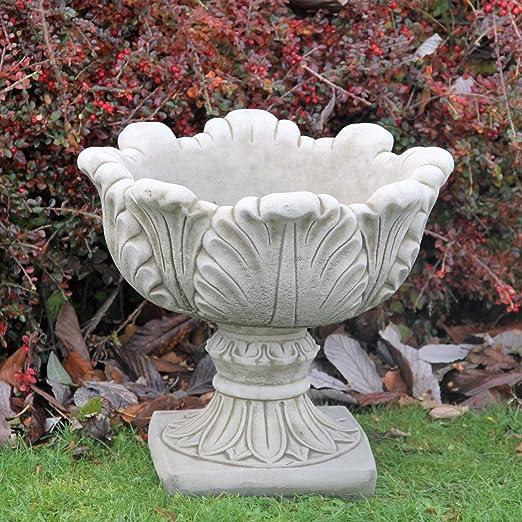 Gran jarrón de maceta maceta Handcast piedra adorno de jardín patio decoración: Amazon.es: Jardín