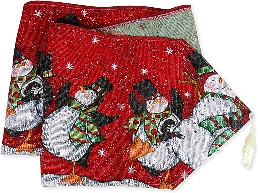 Camino de mesa de Navidad, muñeco de nieve y pingüino diseño de ...