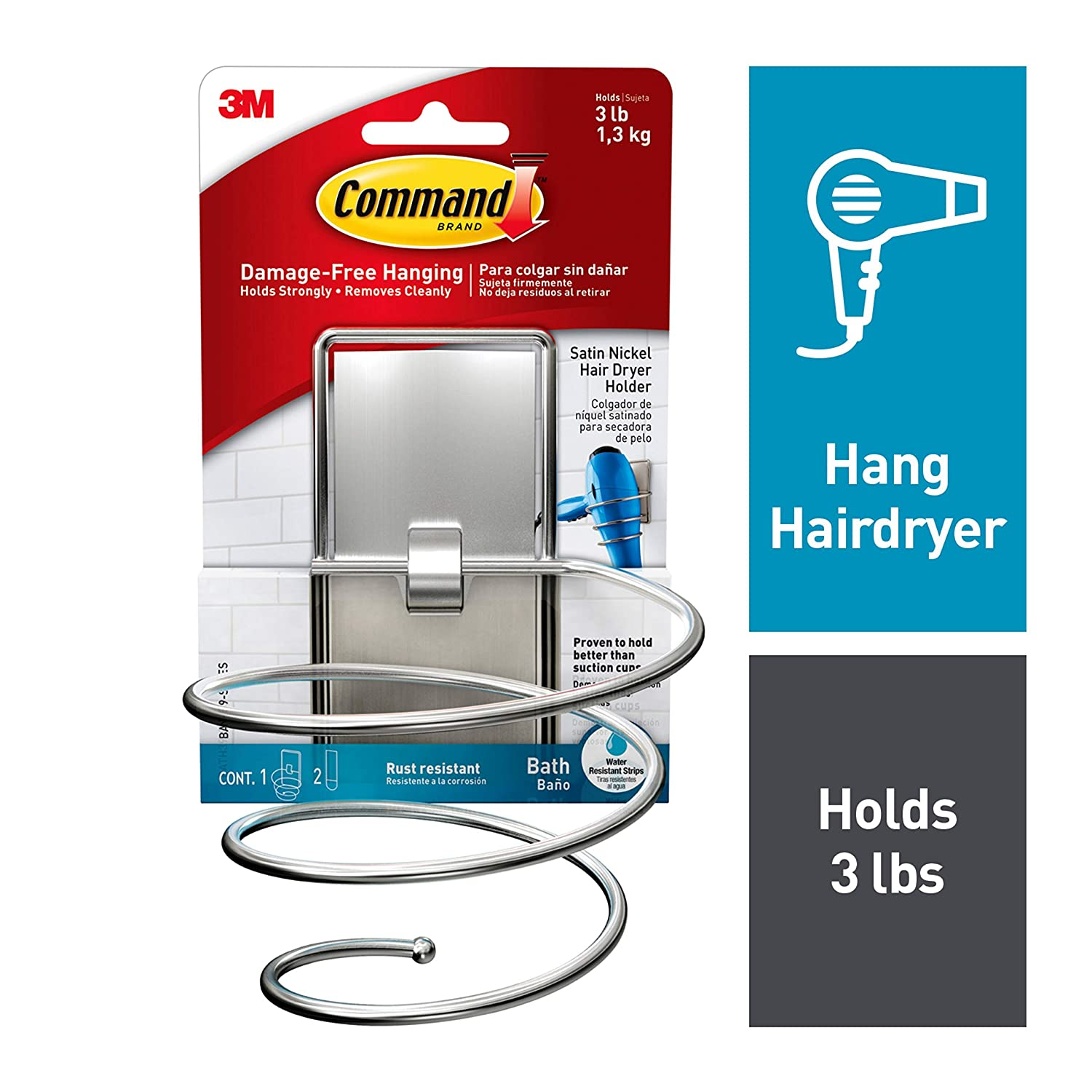 Command, Satin Nickel, 1-Hair Dryer Holder, 2-Large Water-Resistant Strips - BATH39-SN-ES