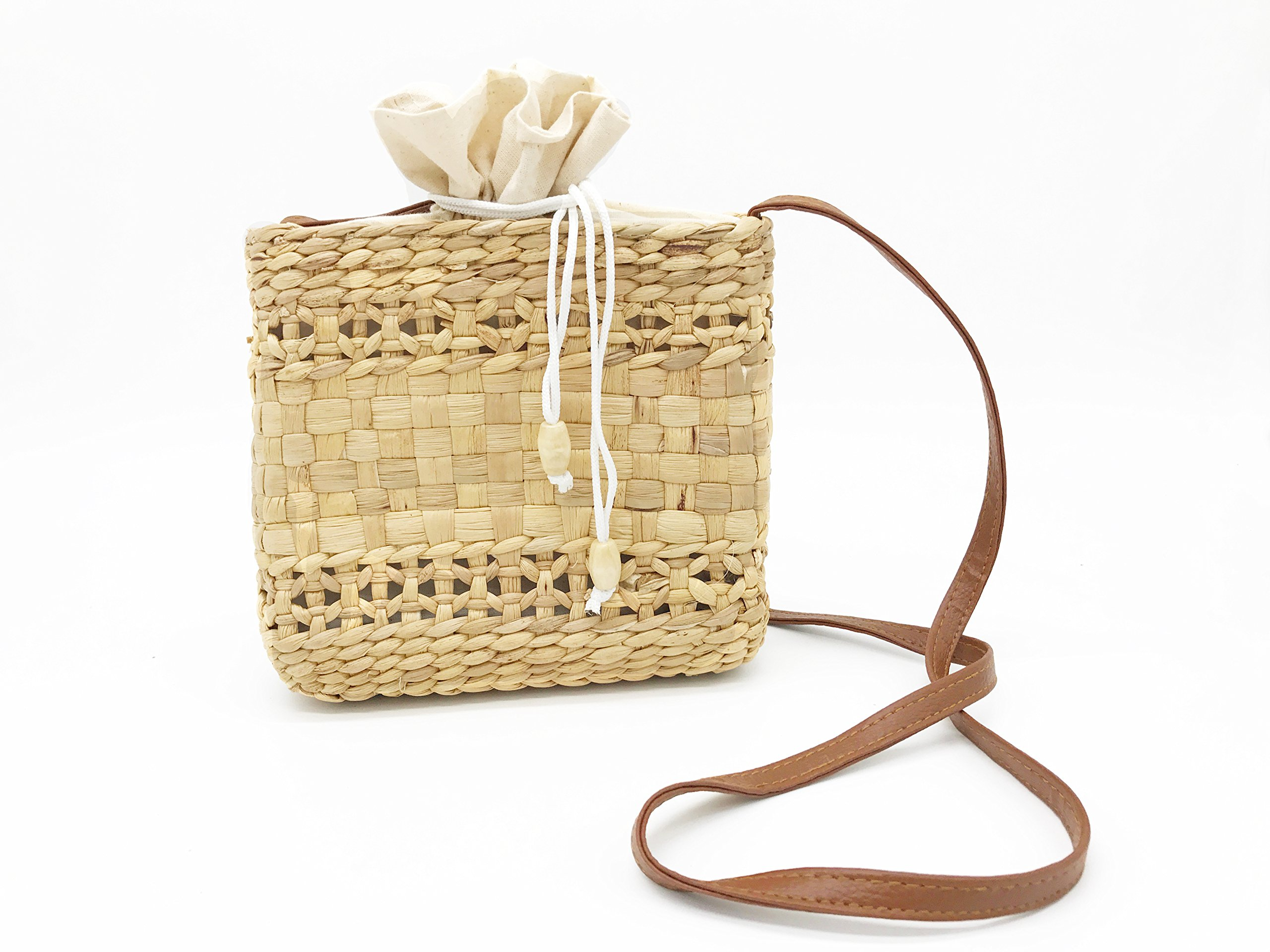 Women Straw Bag Summer Beach Tote Bag Square Handwoven Handbag Cross Body Shoulder Summer Purse with Leather Strap (Style 3)