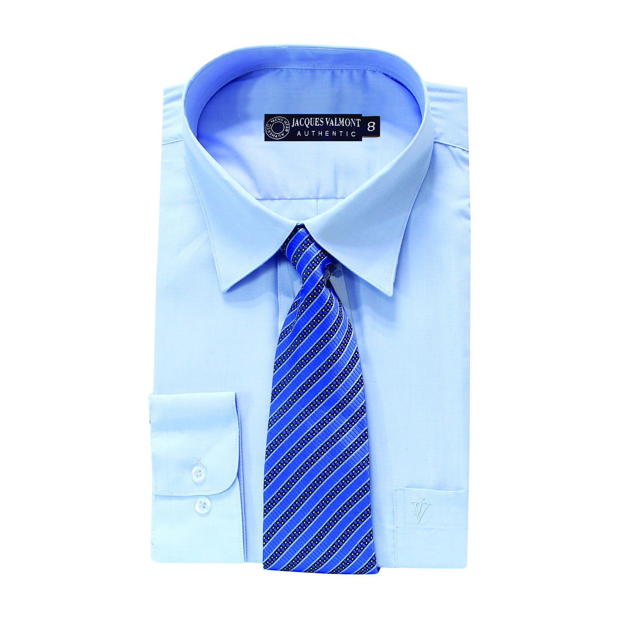 Jacques Valmont - Boy's Long Sleeve Shirt with Tie - Light Blue (Size 8)