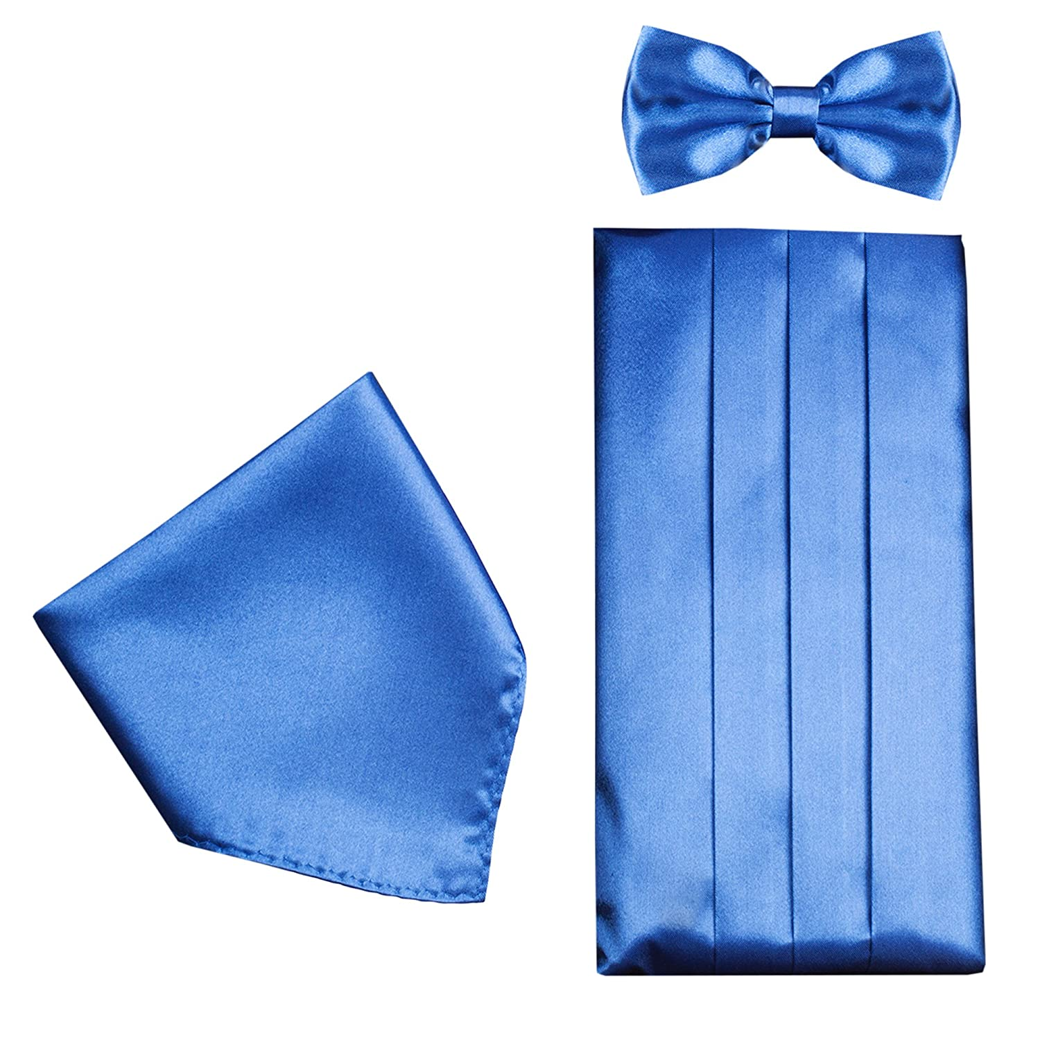 Mens Formal Cummerbund Set Bow Tie & Pocket Square Classic Formal Gift Set in Multiple Colour Vivente Vivo