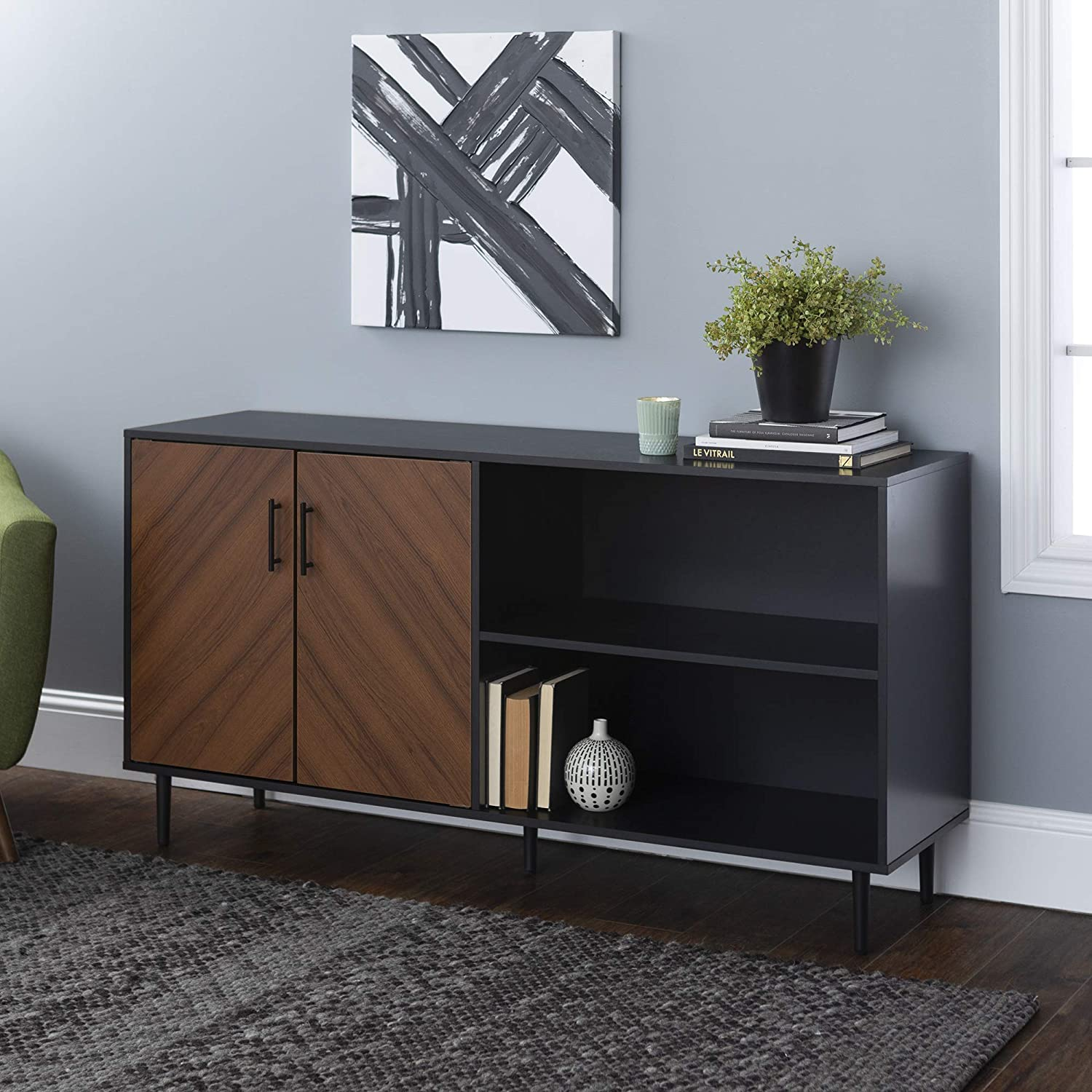 Walker Edison Caye Modern 2-Door-Bookmatch Asymmetrical Console for-TVs up to 65 Inches, 58 Inch, Solid Black