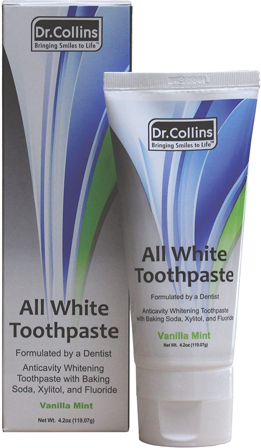Dr. Collins All White Toothpaste, Vanilla Mint, 4.2 ounce