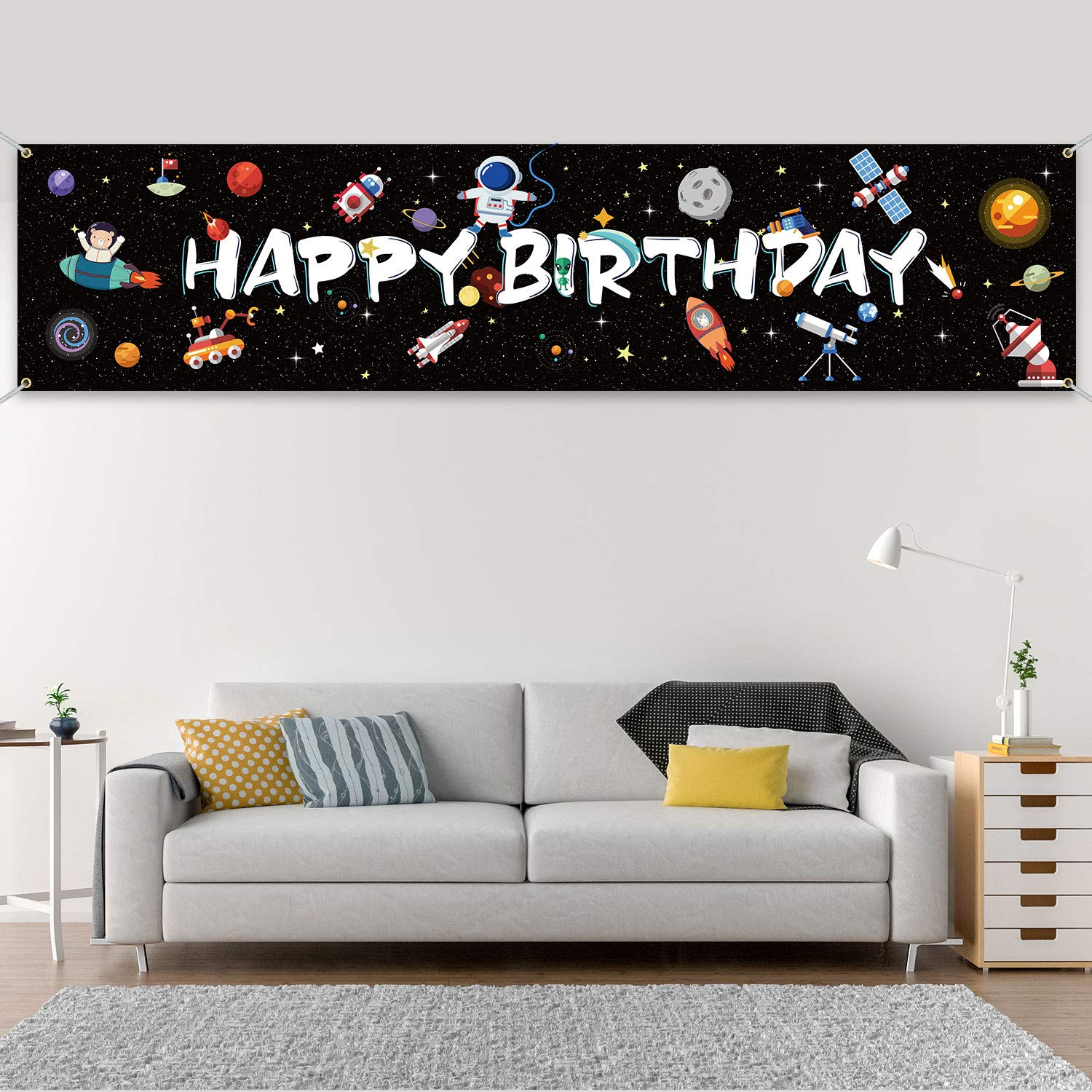 Outer Space Birthday Party Supplies, Space Theme Banner Fabric Solar System Party Backdrop Background Photo Booth Table Runner Room Wall Art Decor for Kid Birthday Party Decorations, 71 x 16 Inch