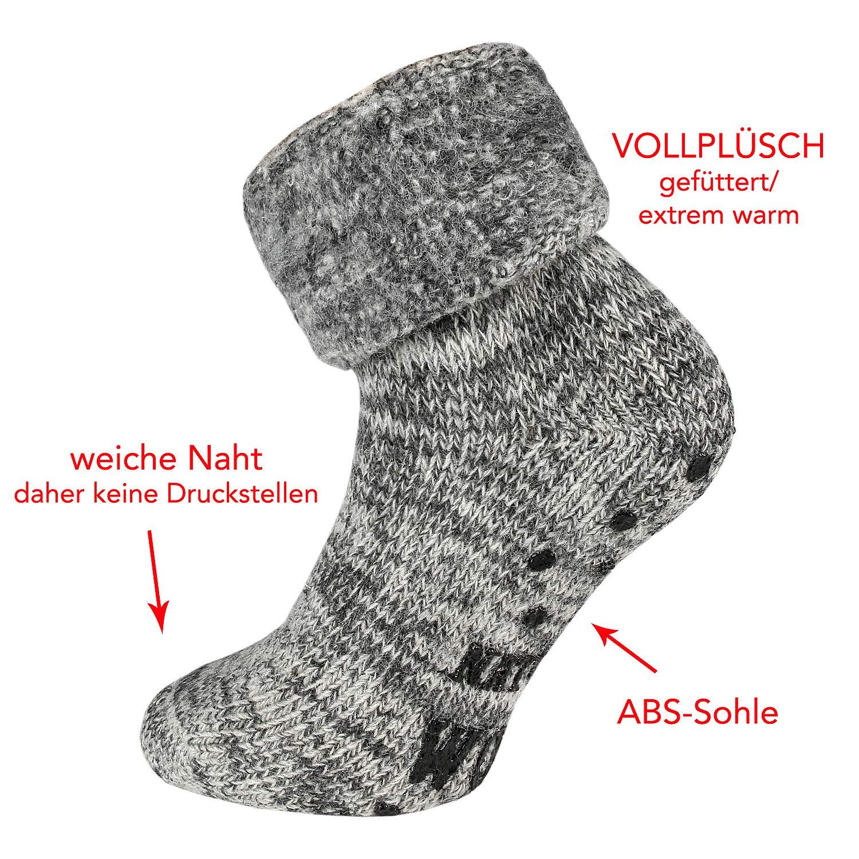 1 Paar warme ABS Damen Thermo Woll Socken mit Umschlag 70/% Wolle blau 35 bis 42