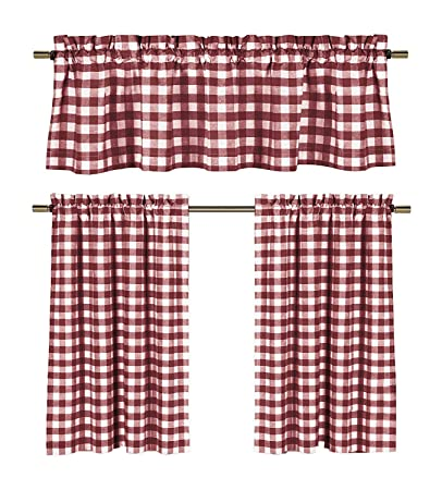 3 Piece Cotton Rich Small Kitchen Window Set: Gingham Check Design, One Valance, Two Tiers 24 in Long (Burgundy and White)