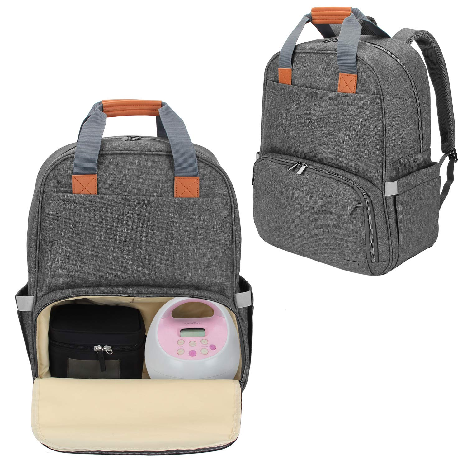 Luxja Breast Pump Backpack with Compartments for Cooler Bag and Laptop, Breast Pump Bag Suitable for Working Mothers (Fits Most Major Breast Pump), Gray