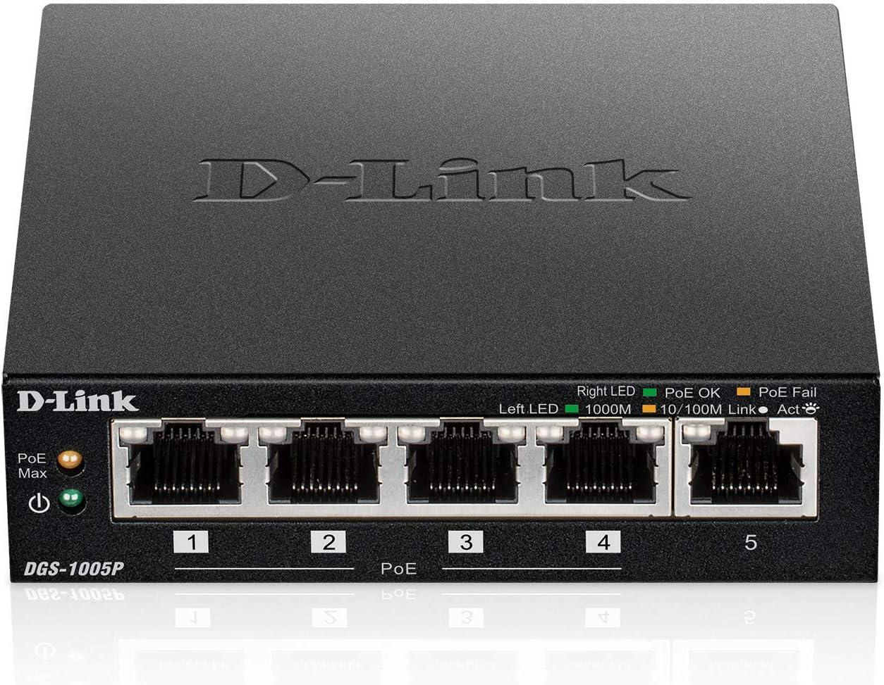 D-Link DGS-1005P - Switch PoE+ con 5 Puertos Gigabit 10/100/1000 Mbps (4 Puertos PoE 802.3af/802.3at de hasta 30 W por Puerto y hasta un Total de 60 W, Carcasa metálica, Full Duplex)