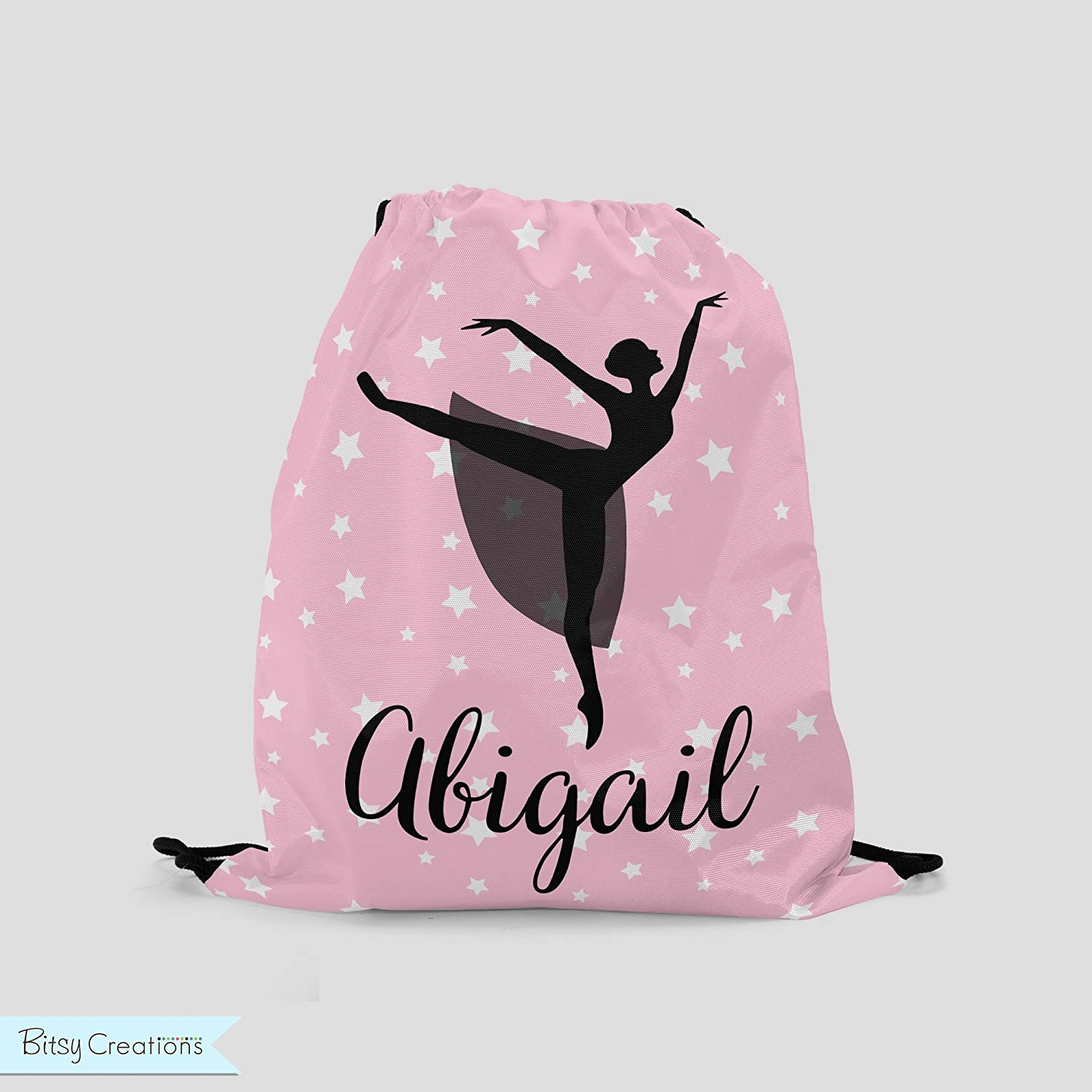 Ballet Silhouette Drawstring Backpack in Pink