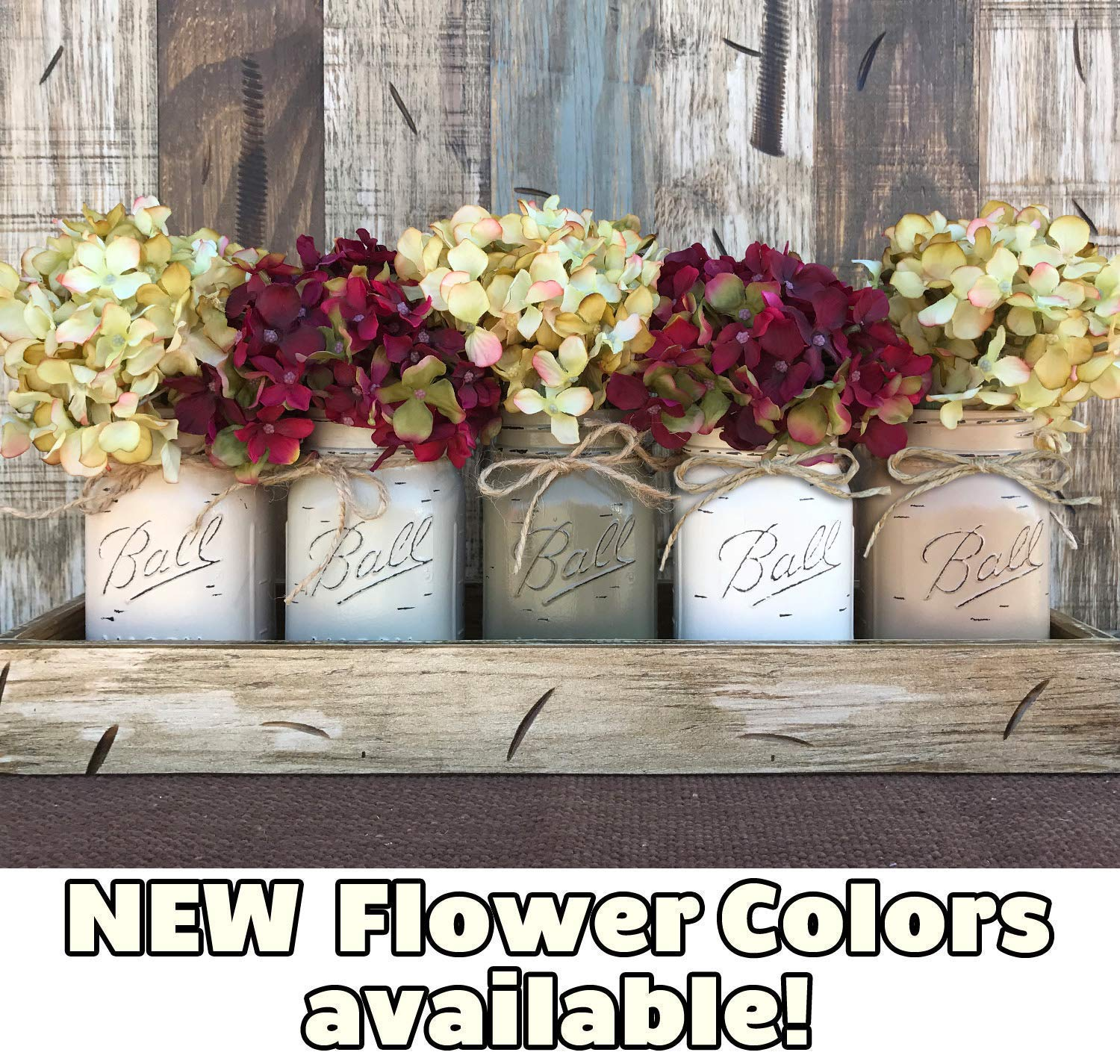 Mason Canning JARS in Wood or Metal Tray Centerpiece with 5 Ball Pint Jar  -Kitchen Table Decor -Distressed -Flowers (Optional)- SAND, THISTLE,  PEWTER, ...