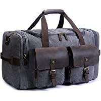 SUVOM Bolsa de lona de piel genuino para fin de semana, bolsa de viaje, bolso de lona para el fin de semana, equipaje de gran tamaño, bolso de mano para hombres y mujeres con correa para el hombro