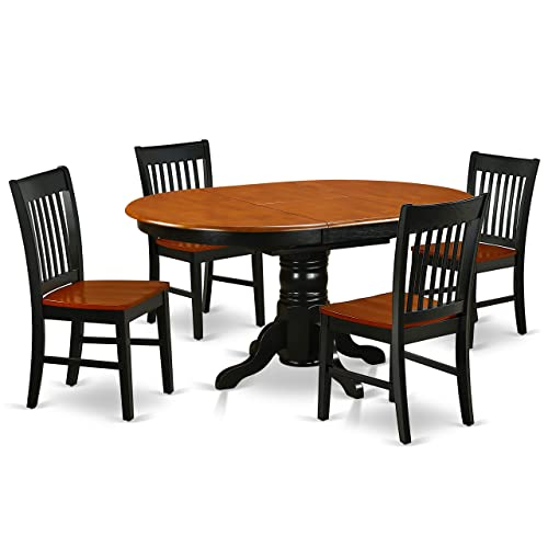 KENO5-BCH-W 5Pc Oval 42 60 Inch Dining Table With 18 In Self Storing Butterfly Leaf And Four Wood Seat Chairs
