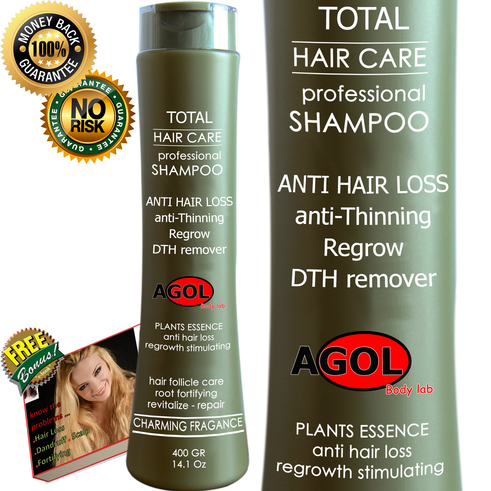 Total Care Organic Plants Extracts and Seaweed Shampoo Help Yourself Hair Grow Stimulating Balanced Ph - Root Purification Thinning & Loss Hair Daily Use Decrease Dandruff & Scalp. Woman & Men 14.1Oz by AGOL
