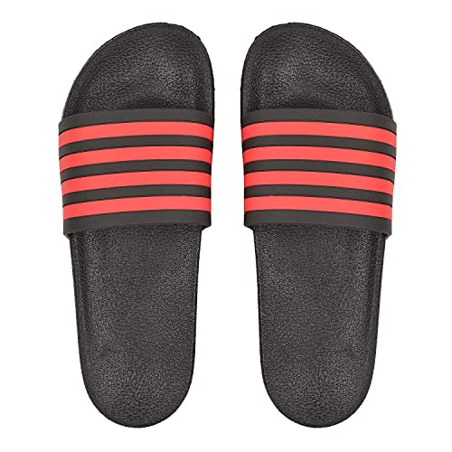 5dba0e5f3ff5 DRUNKEN Slippers for Men Black Open Toe Slip On Slide Flip Flop Slippers  with Stripes  Buy Online at Low Prices in India - Amazon.in