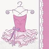 Unique Party - 49482 - Paquet de 16 Serviettes en Papier - Ballerine - Rose - 16,5 cm
