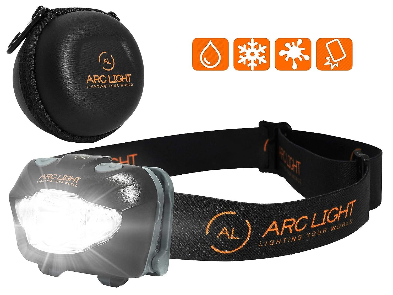 ARC LIGHT LED Stirnlampe-Kopflampe fü r Gassi gehen, Joggen, Wandern, Radfahren, Angeln, Arbeiten, Camping und Bergsteigen. Inklusive 3 AAA Long Life Duracell Batterien und stoß fester Schutzhü lle, Weiß /Rot Licht Modi, IPX6 Wasser g