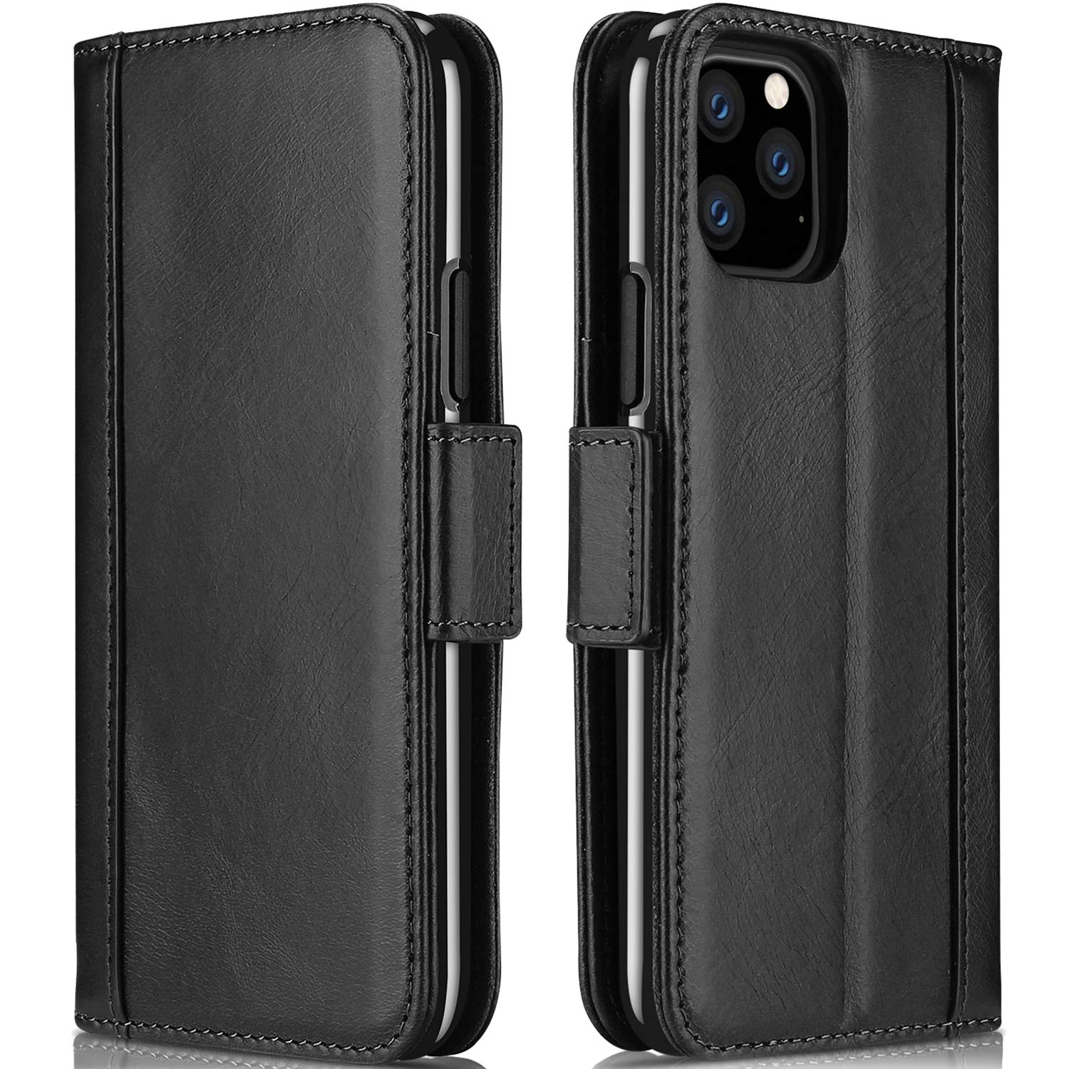 ProCase iPhone 11 Pro Max Genuine Leather Case, Vintage Folio Flip Case with Kickstand Card Holders Leather Wallet Case for iPhone 11 Pro Max 2019 -Black by ProCase