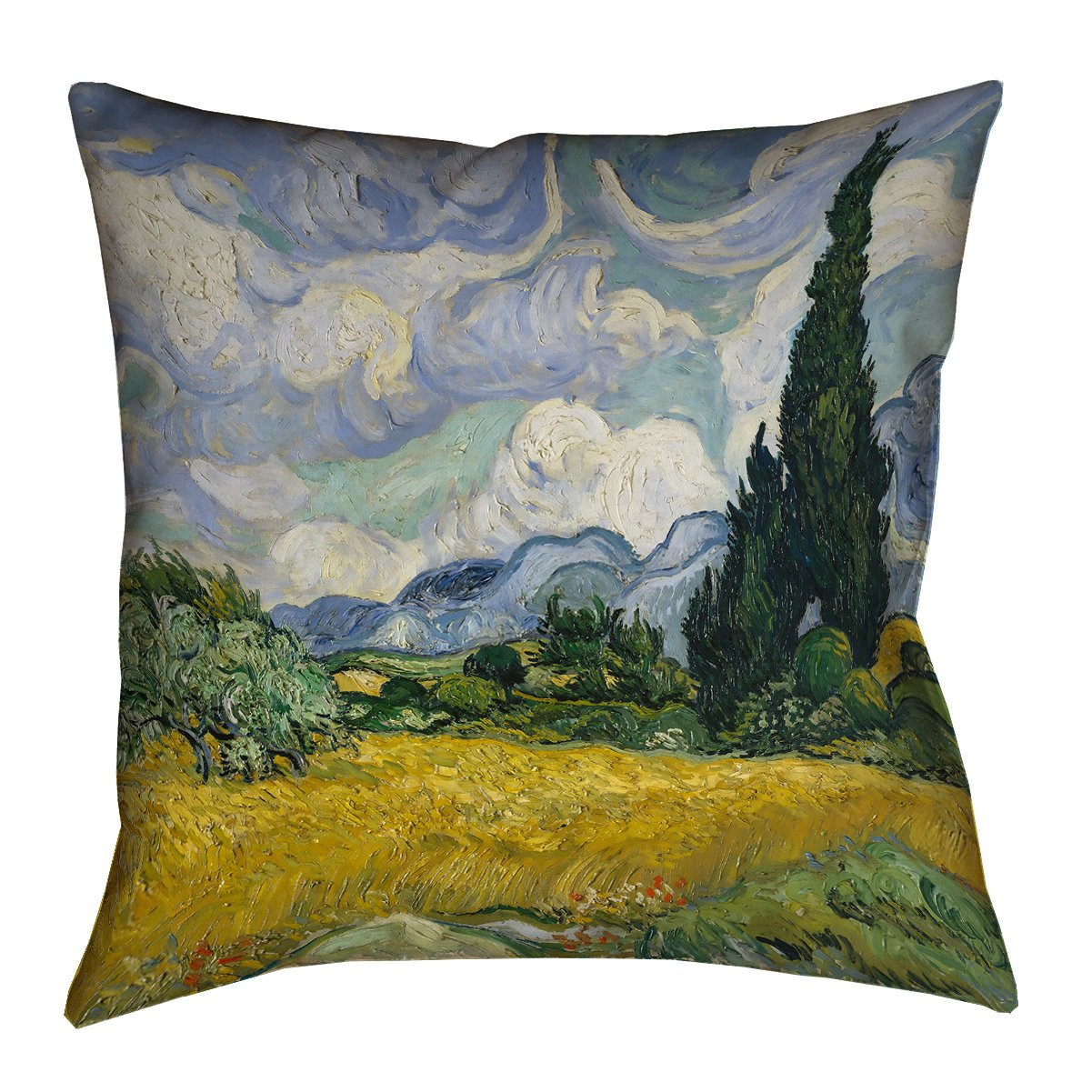ArtVerse Vincent Van Gogh 28' x 28' Floor Double Sided Print with Concealed Zipper & Insert Wheatfield with Cypresses Pillow VAN001F2828L